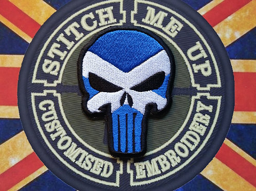 """EMBROIDERED PATCH """"PUNISHER"""" WITH SCOTLAND FLAG"""