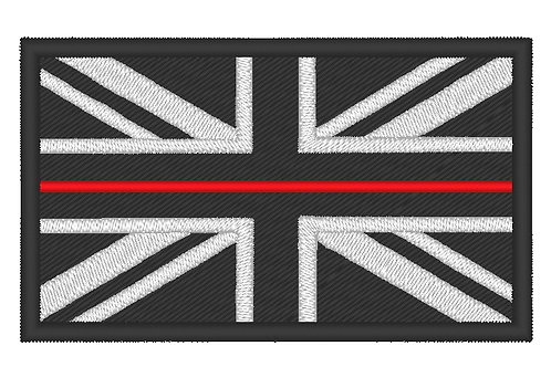 EMBROIDERED LARGE THIN RED LINE FIRE SERVICE PERSONNEL