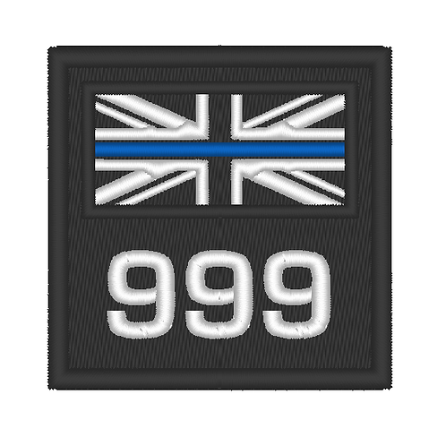 EMBROIDERED SMALL THIN BLUE LINE POLICE PATCH WITH NUMBER