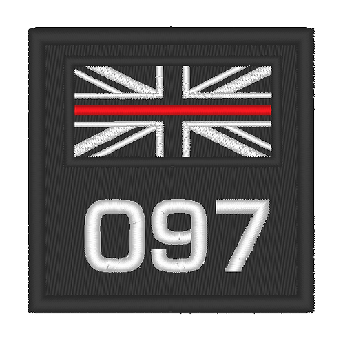 EMBROIDERED SMALL THIN RED LINE FIRE SERVICE PATCH WITH NUMBER