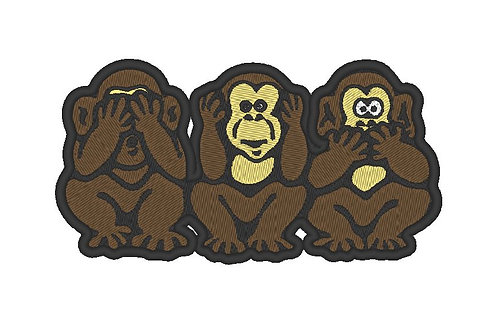 FULLY EMBROIDERED 3 WISE MONKEYS PATCH