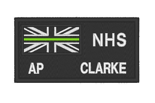 EMBROIDERED THIN GREEN LINE NHS STAFF ZAP PATCH