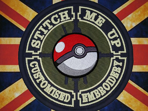 """EMBROIDERED """"POKEBALL"""" LOGOS  INSPIRED BY POKEMON"""