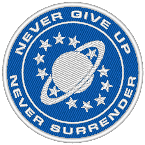 QALAXY QUEST EMBROIDERED CREW PATCH NEVER GIVE UP NEVER SURRENDER