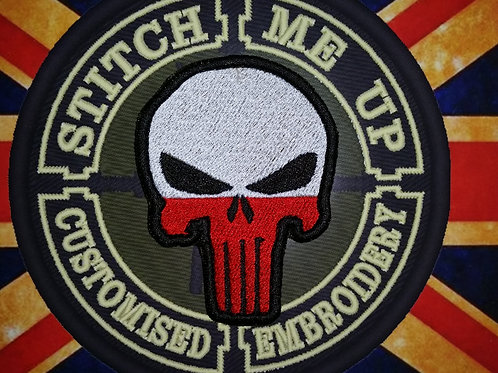 """EMBROIDERED PATCH """"PUNISHER"""" WITH POLISH FLAG"""