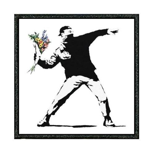 THERMAL VINYL -BANKSY - MAN THROWING FLOWERS