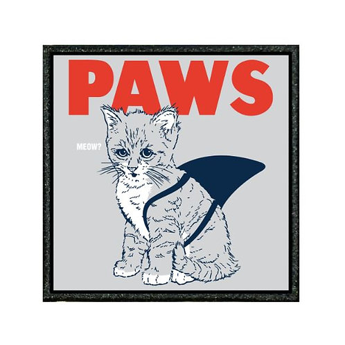 THERMAL VINYL PATCH - PAWS , JAWS PARODY