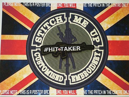 """EMBROIDERED PATCH M16 SHAPED WITH """"HIT TAKER"""""""