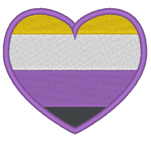 EMBROIDERED NON BINARY PRIDE HEART FLAG 80MM X 70MM