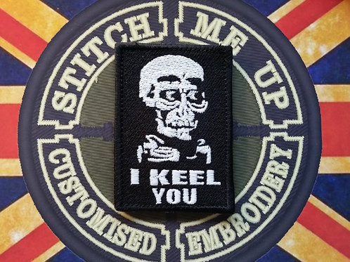 "EMBROIDERED GLOW IN DARK ""AHMED-I KEEL YOU"" PATCH"