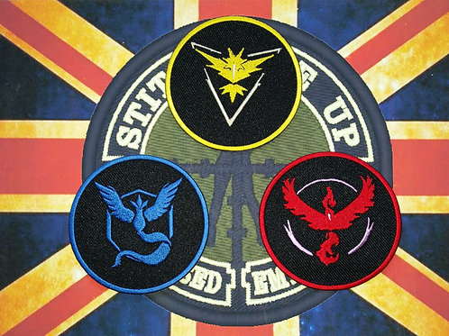 """EMBROIDERED """"POKEMON GO TEAM"""" PATCHES"""