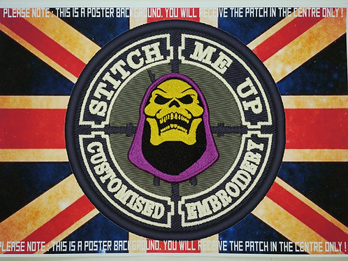 EMBROIDERED SKELETOR HEAD PATCH - HE-MAN
