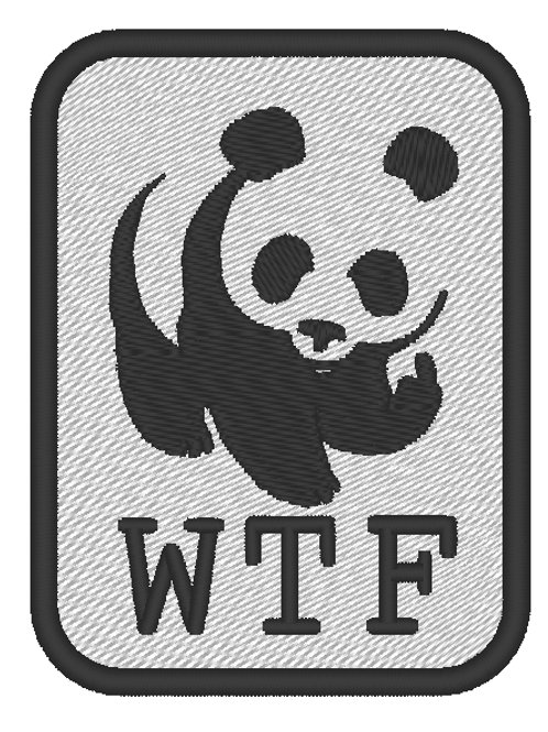 EMBROIDERED MORALE COSPLAY PATCH - WTF  WWF PANDA PARODY BADGE