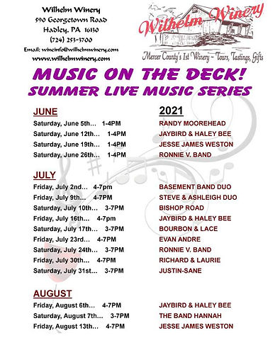 2021 Summer Music Series Poster and Summ
