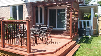 beautiful deck, morning coffee spot, red stain deck, repainted, wood treatment, burlington, relist renos, hamont