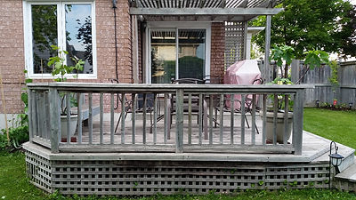 drab weathered deck, soft spots, nesting animals, wood slivers, needs repair and refresh, relist renos, burlington
