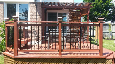 afternoon bbq, wood stain, red deck, safe environment, family time, summer spot, relaxing hidaway, backyard oasis, hamont, relist renos, burlington