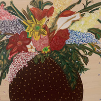 Flowers in a gilded vase-(24 x 30 inches
