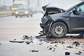 car crash accident on street, damaged au