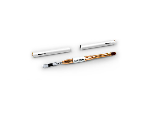 SPADE White Rose Gold Dual-ended Nail Gel Brush Pen & Spatula Tool