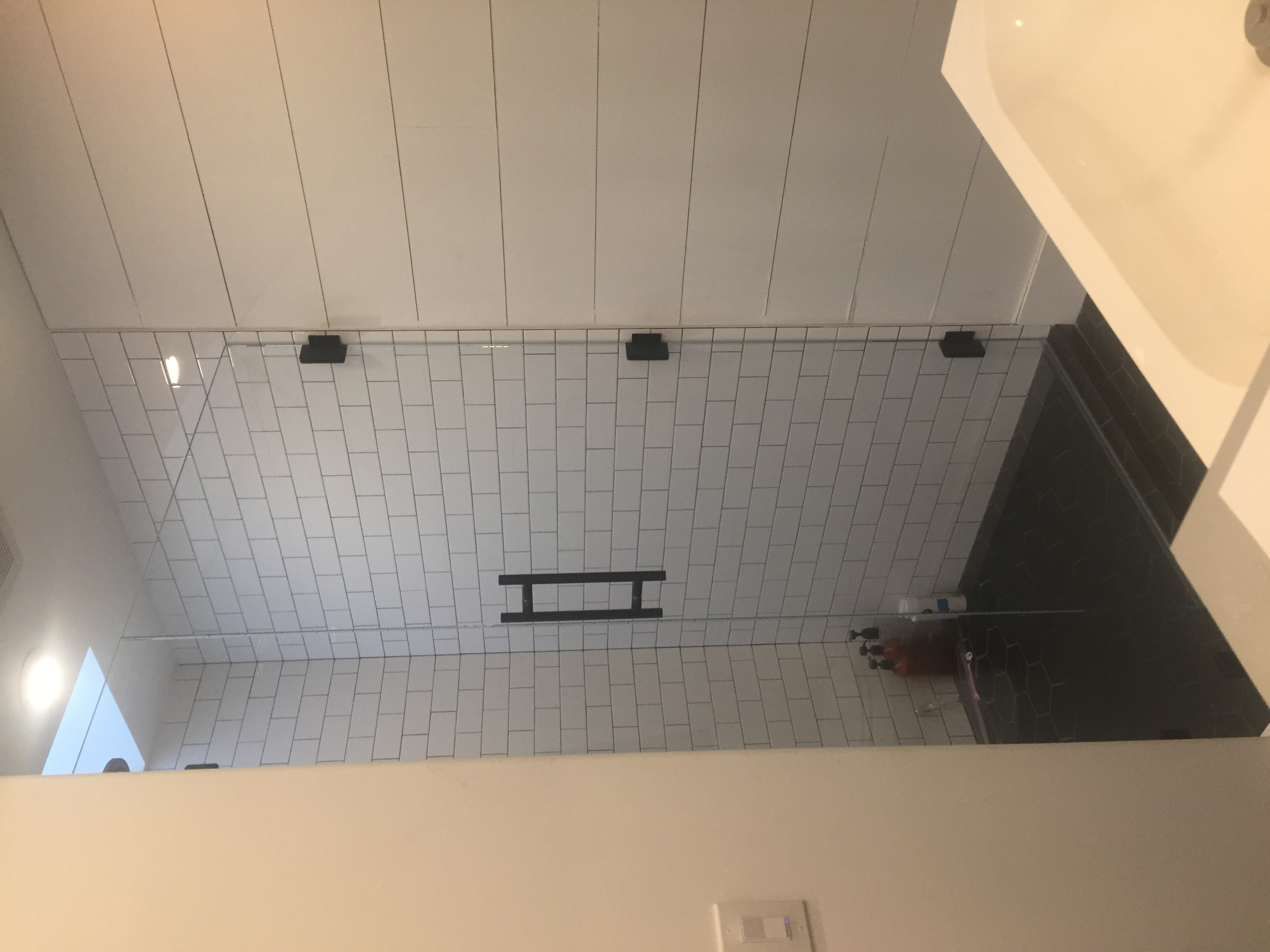 Ladder Pull Frameless Shower