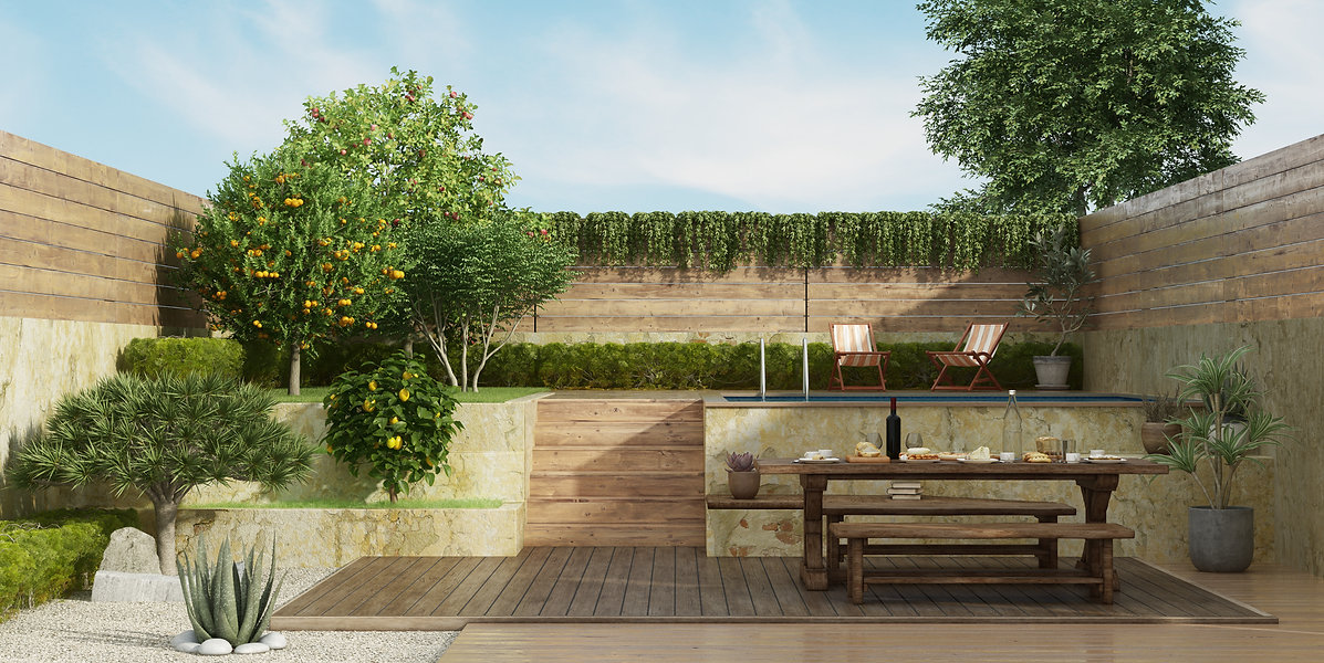garden-two-levels-with-old-dining-table-