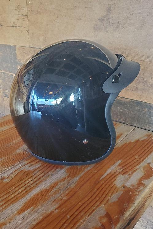 Gloss black classic 3/4 helmet