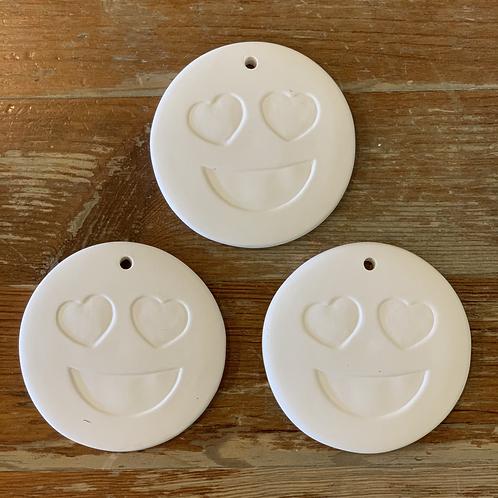 3 Heart eyes emoji ornaments