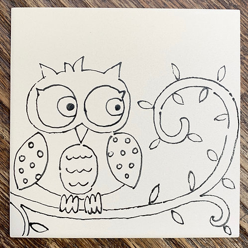 ready to paint cute owl tile