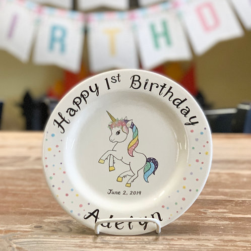 personalized unicorn birthday plate