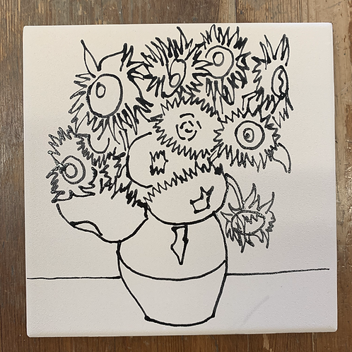 ready to paint Sunflowers tile