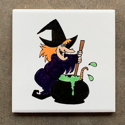 ready to paint Halloween witch tile