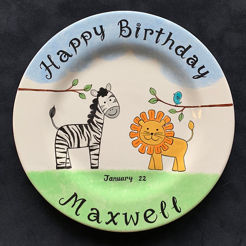 personalized zebra and lion plate