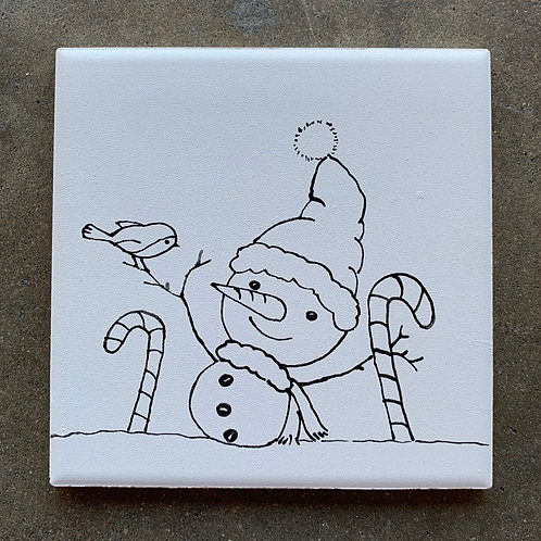 ready to paint Holiday snowman tile