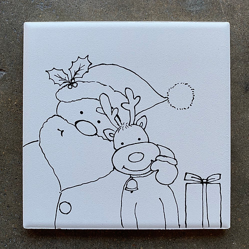 ready to paint Santa & reindeer tile