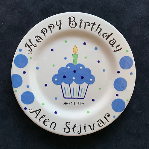 Blue cupcake birthday plate