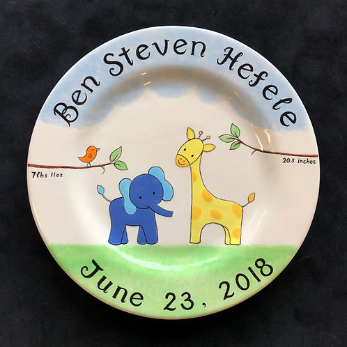 personalized elephant and giraffe plate