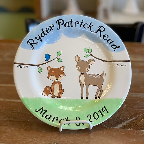 personalized fox and deer plate