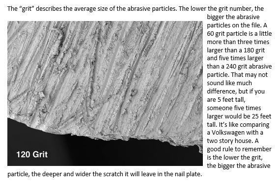 Excerpt from Face to Face Vol II showing the surface of a natural nail buffed with a 120 grit file. Doug Schoon author