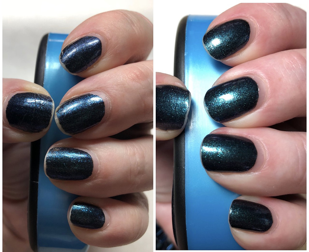 Comparison of nails worn two weeks, polished before and after Dazzle Dry education.