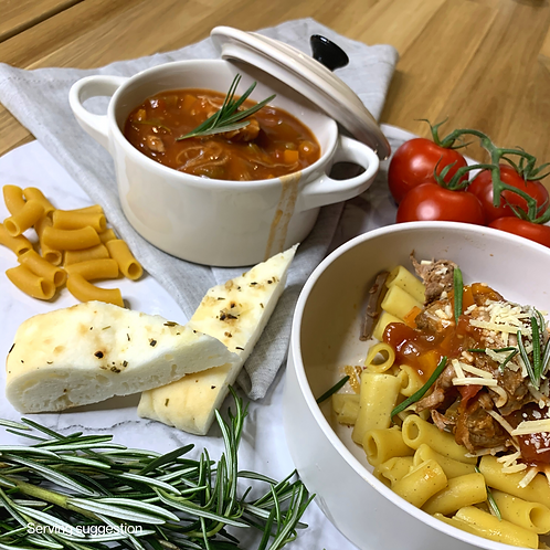 Slow Cooked Lamb Ragu with Chickpea Pasta
