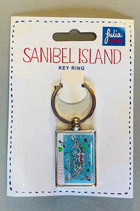 Key Ring with Sanibel Island Map
