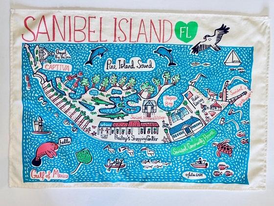 Dishtowel with Sanibel Island Map