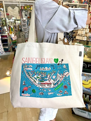 Canvas Tote Bag with Sanibel Island Map