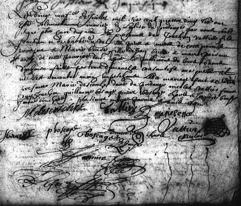 Mariage de Joachim Vattier, Registre BMS, Le Pré d'Auge