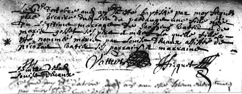 Naissance de Marie Vattier, Registre BMS, Le Pré d'Auge