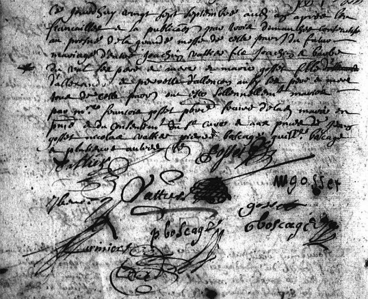 Deuxième mariage de Joachim Vattier, Registre BMS, Le Pré d'Auge