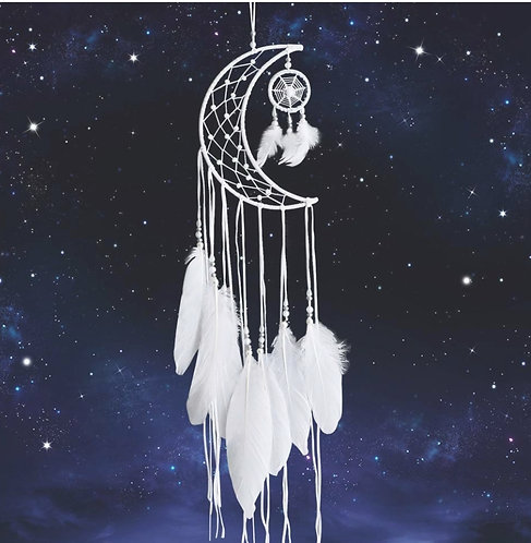 Small White Moon Dream Catcher - New Moon Design