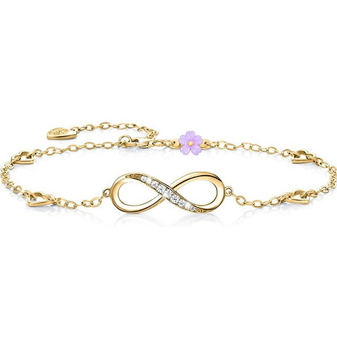 """925 Sterling Silver Infinity Anklet Bracelet - Great Way To Say """"I Love You"""""""