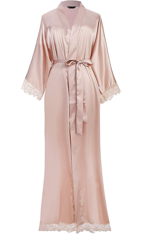 Satin Robe Long Bath Robe with Lace Trim